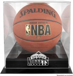 Denver Nuggets Blackbase Team Logo Basketball Display Case with Mirrored Back