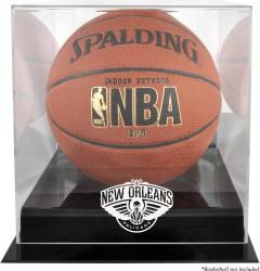 New Orleans Pelicans Black Base Logo Basketball Display Case with Mirror Back - Mounted Memories