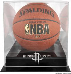 Houston Rockets Blackbase Team Logo Basketball Display Case with Mirrored Back - Mounted Memories