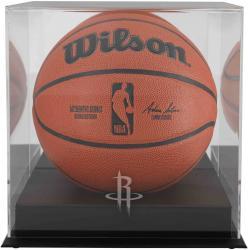 Houston Rockets Blackbase Team Logo Basketball Display Case with Mirrored Back