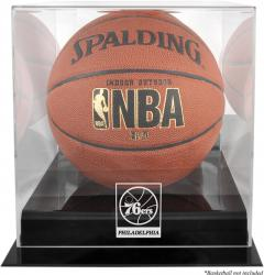 Philadelphia 76ers Blackbase Team Logo Basketball Display Case with Mirrored Back - Mounted Memories