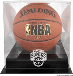Seattle SuperSonics Black Base Logo Basketball Display Case with Mirror Back - Mounted Memories
