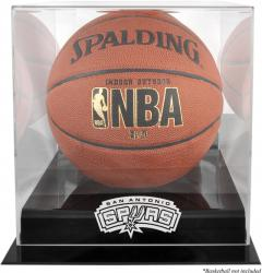 San Antonio Spurs Blackbase Team Logo Basketball Display Case with Mirrored Back - Mounted Memories