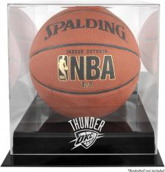 Oklahoma City Thunder Blackbase Team Logo Basketball Display Case with Mirrored Back - Mounted Memories