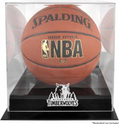 Minnesota Timberwolves Blackbase Team Logo Basketball Display Case with Mirrored Back - Mounted Memories