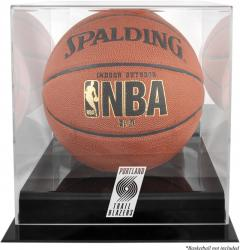 Portland Trail Blazers Blackbase Team Logo Basketball Display Case with Mirrored Back - Mounted Memories