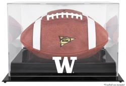 Washington Huskies Black Base Logo Football Display Case with Mirror Back - Mounted Memories