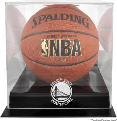 Golden State Warriors Blackbase Team Logo Basketball Display Case with Mirrored Back - Mounted Memories