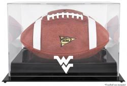 West Virginia Mountaineers Black Base Logo Football Display Case with Mirror Back - Mounted Memories