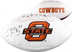 Justin Blackmon Oklahoma State Cowboys Autographed Logo Football