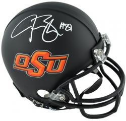 Justin Blackmon Oklahoma State Cowboys Autographed Mini Helmet - Mounted Memories