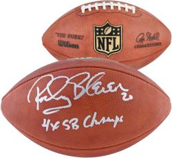 Rocky Bleier Pittsburgh Steelers Autographed Duke Pro Football with 4X SB Champs Inscription