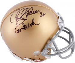 Rocky Bleier Notre Dame Fighting Irish Autographed Riddell Mini Helmet with Go Irish Inscription - Mounted Memories