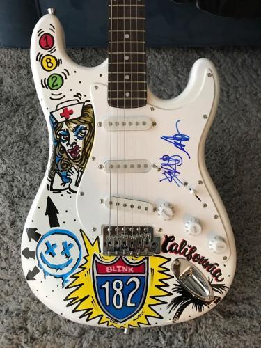 Blink 182 Mark & Travis Signed Autograph Amazing Custom Painted Full Guitar 1/1