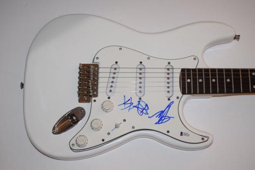 BLINK 182 Signed Autograph Electric Guitar Travis Barker & Mark Hoppus BAS COA
