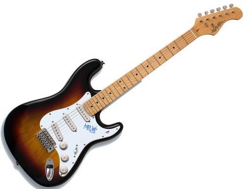Blink 182 Travis Barker Autographed Signed Sunburst Guitar PSA AFTAL UACC RD