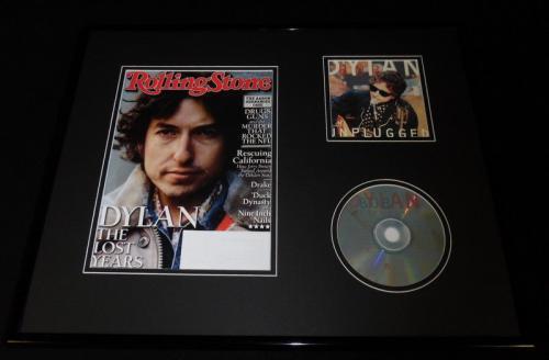 Bob Dylan 16x20 Framed 2013 Rolling Stone Magazine & Unplugged CD Display
