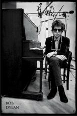 Bob Dylan Autographed Facsimile Signed Sitting At A Piano Poster