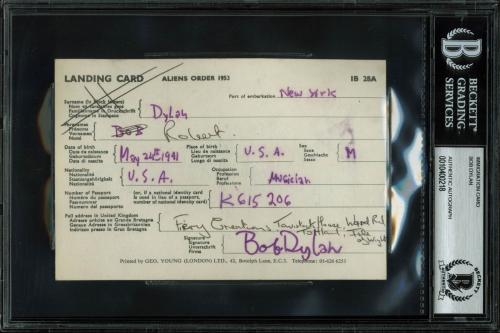 Bob Dylan Signed 1953 International Landing Card Autographed BAS Slab