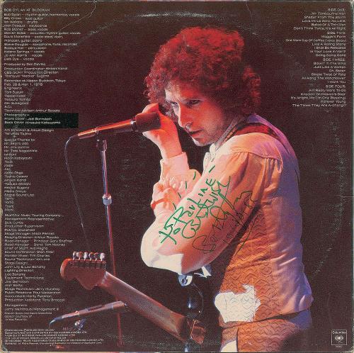 Bob Dylan Signed Autographed At Budokan Album LP JSA Authentic