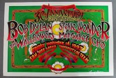 Bob Dylan Stevie Wonder Applied Material Poster Signed Famous Artist Randy Tuten