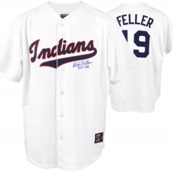 Majestic Bob Feller Cleveland Indians Autographed Jersey with ''HOF '62'' Inscription - White - Mounted Memories
