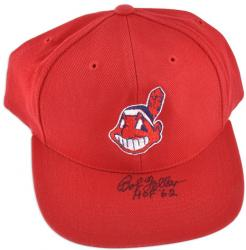 "Bob Feller Cleveland Indians Autographed Baseball Cap with ""HOF 62"" Inscription"