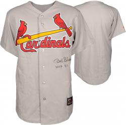 Bob Gibson St. Louis Cardinals Autographed Gray Jersey with HOF 81 Inscription