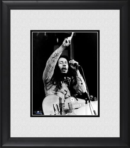 "Bob Marley Framed 8"" x 10"" Eyes Closed & Pointing on Stage Photograph"