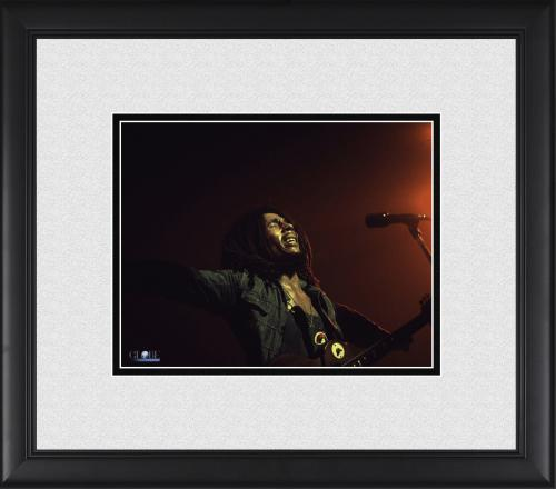 "Bob Marley Framed 8"" x 10"" Performing Arms Out in Red Photograph"