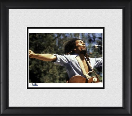 "Bob Marley Framed 8"" x 10"" Performing Outdoors Photograph"
