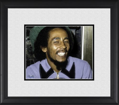 "Bob Marley Framed 8"" x 10"" Smiling in Color Photograph"