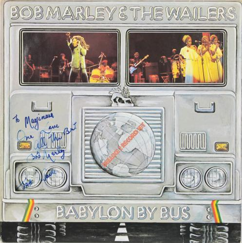 """Bob Marley """"One Love All The Best"""" Signed Babylon By Bus Album Cover JSA #Z69324"""