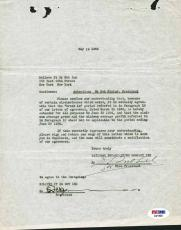 Bob Ripley Signed 1936 Contract Addendum Believe It Or Not Psa/dna C01630