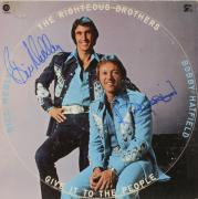Bobby Hatfield & Bill Medley Autographed The Righteous Brothers Give it to the People Album Cover - PSA/DNA COA