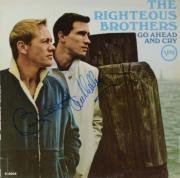 Bobby Hatfield & Bill Medley Autographed The Righteous Brothers Go Ahead & Cry Album Cover - PSA/DNA COA