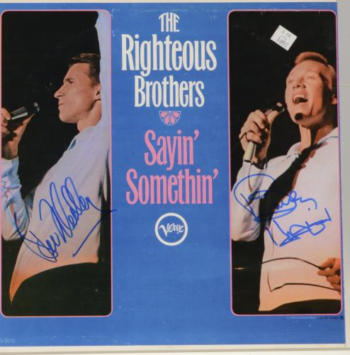 Bobby Hatfield & Bill Medley Autographed The Righteous Brothers Saying' Somethin' Album Cover - PSA/DNA COA