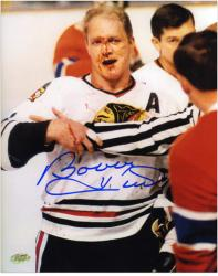 Chicago Blackhawks Bobby Hull Autographed 8'' x 10'' Blood Photo - Mounted Memories