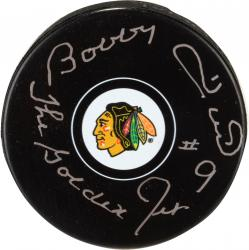 Bobby Hull Chicago Blackhawks Autographed Team Logo Puck with Golden Jet Inscription