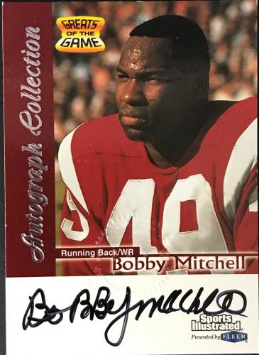 Bobby Mitchell Autographed 1999 Fleer Greats Of The Game Card