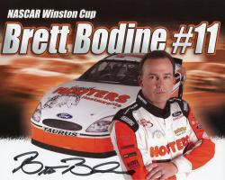 Brett Bodine Autographed 8'' x 10'' Hooters Outside Car Photograph