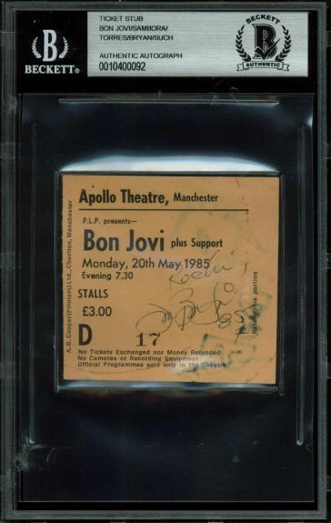 Bon Jovi (4) Signed 3x2.75 1985 Manchester Apollo Theatre Ticket Stub BAS Slab
