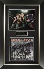 Bon Jovi Band Signed Slippery When Wet Album Flat Framed Dis