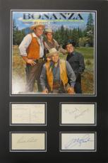 Bonanza (4) Multi-Signed Matted Display Landon Roberts Blocker PSA/DNA #AB09757