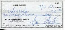 Bonnie Franklin One Day At A Time Television Show Actress Signed Check Autograph