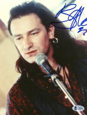 "Bono Autographed 8""x 10"" U2 Singing Photograph - Beckett COA"