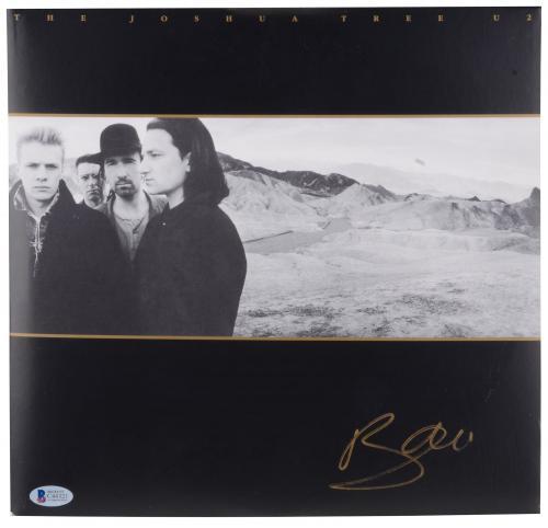 Bono Autographed U2 The Joshua Tree Album Cover- BAS COA