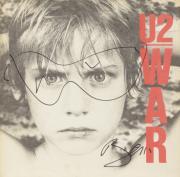Bono Autographed U2 War Album Cover With Hand Sketched Glasses - PSA/DNA COA