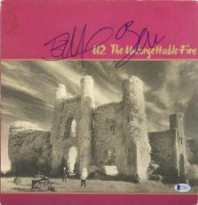 Bono & Edge U2 Signed The Unforgettable Fire Album Cover W/ Vinyl BAS #C19819