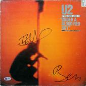 Bono & Edge U2 Signed Under A Blood Red Sky Album Cover W/ Vinyl BAS #C19818